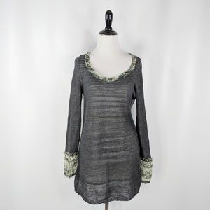FREE PEOPLE sheer grey tunic sweater paisley raw